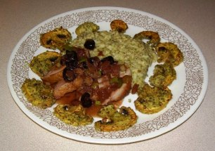 Duck Breast with Balsamic Sauce with Cherries, Pesto Risotto and Grilled Mushrooms