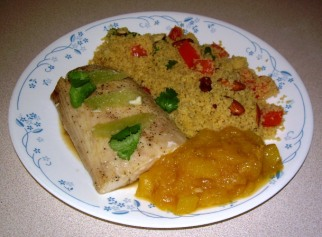 Mahi-Mahi with Curry Couscous and Mango Sauce