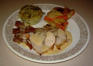 Turkey Roast with Shallots, Nuts Armagnac Stuffing andP otato Yam Gratin with Leek Basil Flan