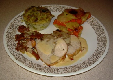 Turkey Roast with Shallots, Nuts Armagnac Stuffing andP otato Yam Gratin with Leek Basil Flan